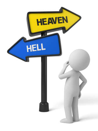 heaven and hell: A road sign with heaven hell words. 3d image. Isolated white background Stock Photo