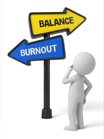 burnout: A road sign with balance burnout words. 3d image. Isolated white background