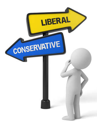 conservative: A road sign with liberal conservative words and human figure