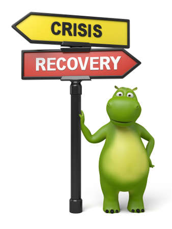 road to recovery: A road sign with crisis recovery words and cartoon figure