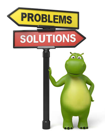 A road sign with Problems Solutions words and cartoon figure 스톡 콘텐츠
