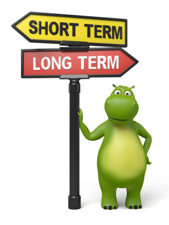 long term: A road sign with short term long term words and cartoon figure