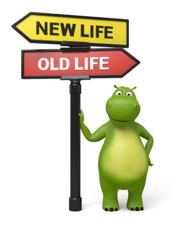 intentions: A road sign with new life old life words and cartoon figure