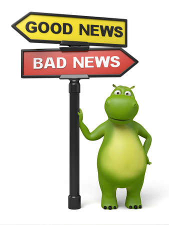 bad news: A road sign with good news bad news words and cartoon figure