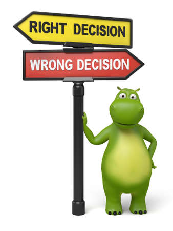 A road sign with right decision wrong decision words and cartoon figure