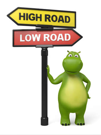 righteous: A road sign with high road low road words and cartoon figure