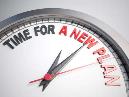 strategize: Clock with words time for a new plan