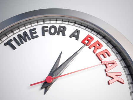 interruption: Clock with words time for a break on its face Stock Photo