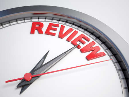 count down: Clock with words time for review on its face