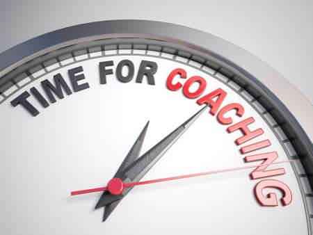 supportive: Clock with words time for coaching on its face