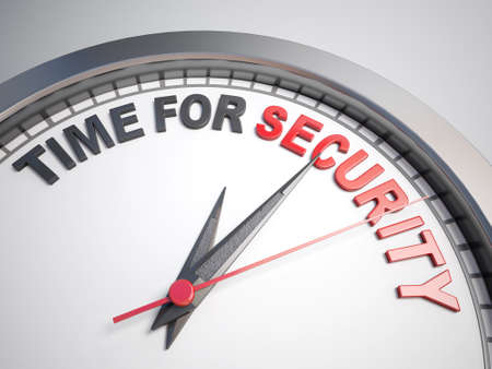 count down: Clock with words time for security on its face