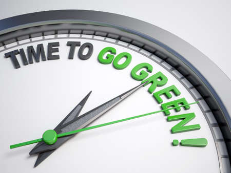 count down: Clock with words time to go green on its face