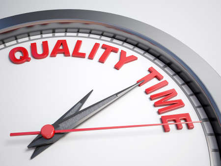 quality time: Clock with words quality time on its face