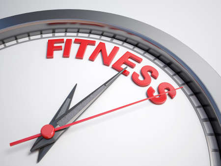 count down: Clock with words time for fitness on its face Stock Photo