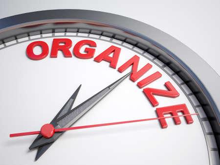 Klok met de woorden: tijd om te organiseren op het eerste gezicht