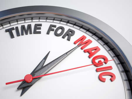 count down: Clock with words time for magic on its face Stock Photo