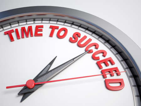 succeed: Clock with words time to succeed on its face
