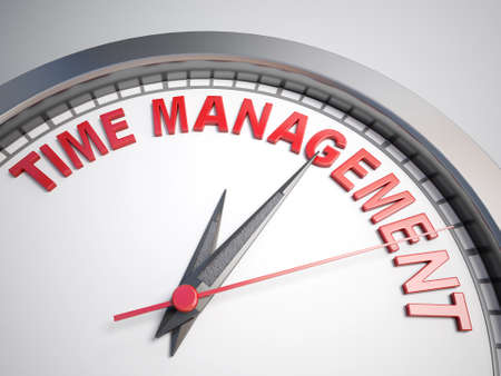 count down: Clock with words time management on its face Stock Photo
