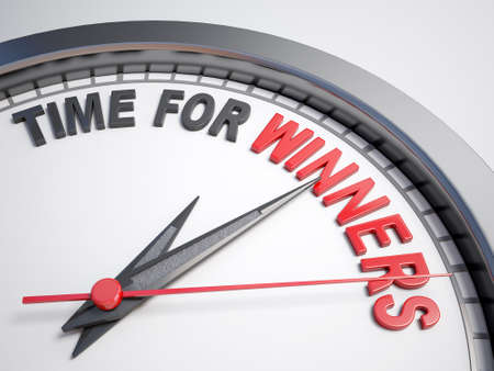 count down: Clock with words time for winner on its face