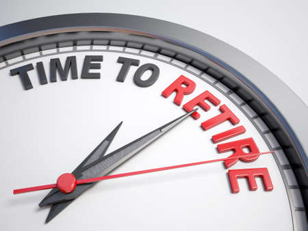 retire: Clock with words time to retire on its face