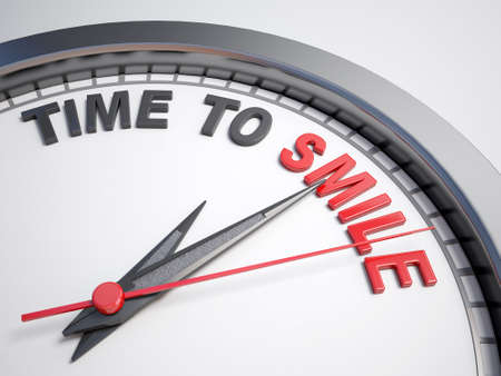 count down: Clock with words time to smile on its face Stock Photo