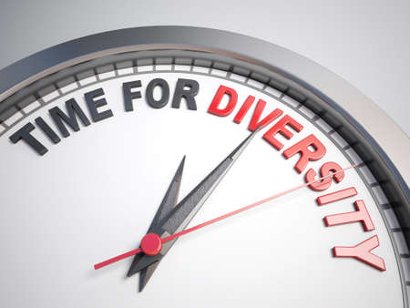 multiplicity: Clock with words time for diversity on its face
