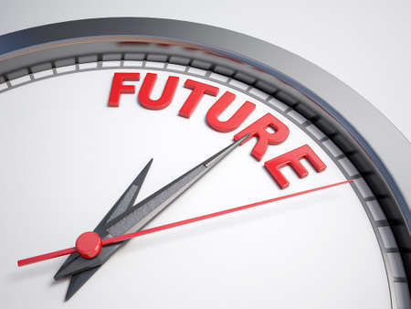 the future: Clock with words future on its face Stock Photo