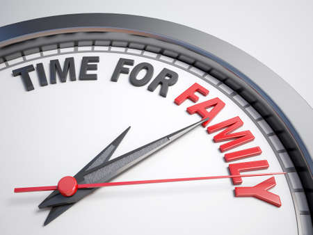 count down: Clock with words time for family on its face Stock Photo