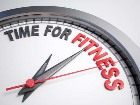 health and fitness: Clock with words time for fitness on its face Stock Photo