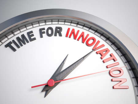 count down: Clock with words time for innovation on its face