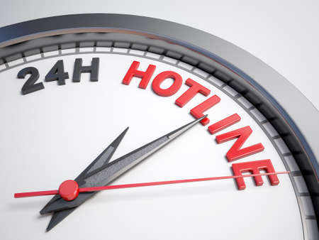 hotline: Clock with words 24h hotline on its face