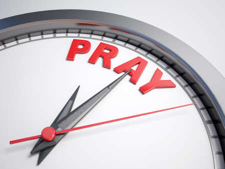 implore: Clock with words time to pray on its face Stock Photo