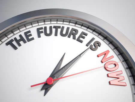 count down: Clock with words the future is now on its face