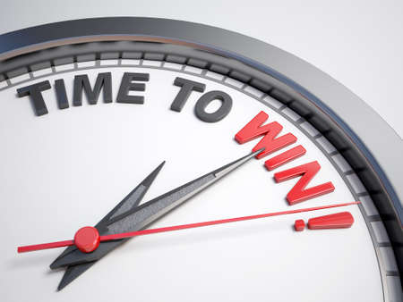 count down: Clock with words time to win on its face Stock Photo