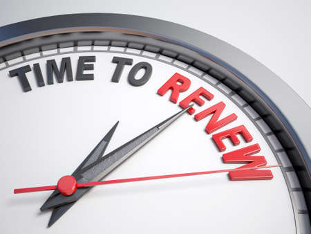 revive: Clock with words time to renew on its face