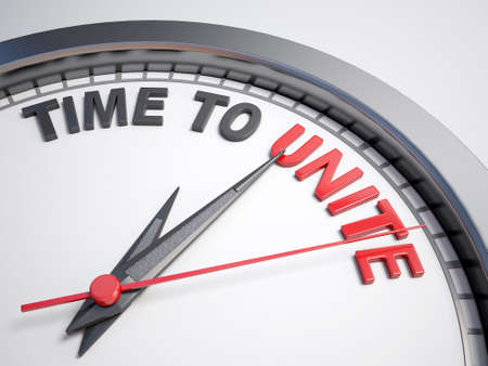 unite: Clock with words time to unite on its face
