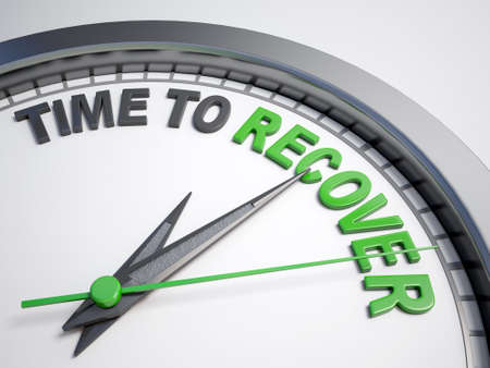 restoring: Clock with words time to recover on its face Stock Photo