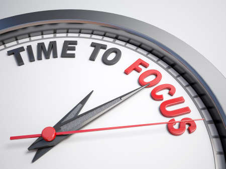 focus: Clock with words time to focus on its face Stock Photo