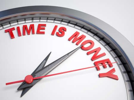 count down: Clock with words time is money on its face
