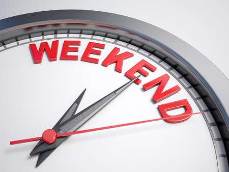 fin de semana: Reloj con palabras de fin de semana en su cara Foto de archivo