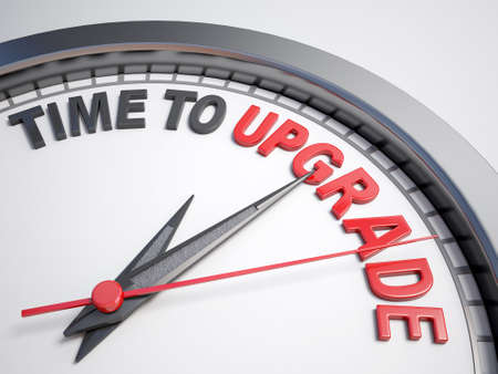 count down: Clock with words time to upgrade on its face
