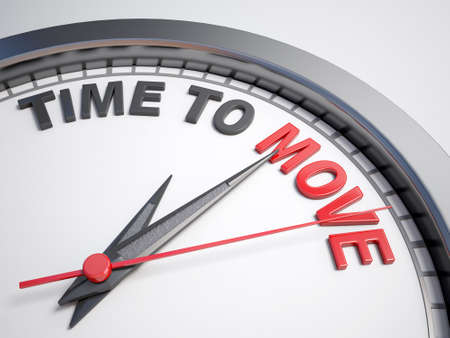 move: Clock with words time to move on its face