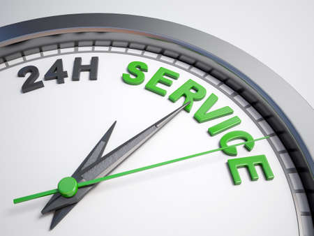 count down: Clock with words 24h service on its face Stock Photo