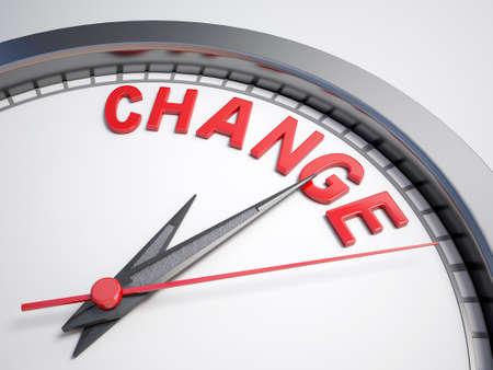 Klok met woorden tijd om te veranderen op het eerste gezicht