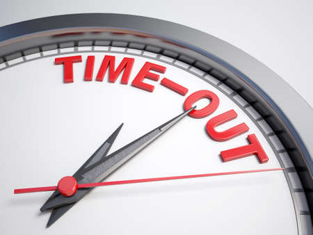 time out: Clock with words time out on its face Stock Photo