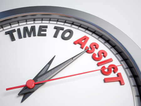 assist: Clock with words time to assist on its face Stock Photo