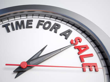 count down: Clock with words time for a sale on its face