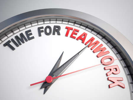 unite: Clock with words time for teamwork on its face