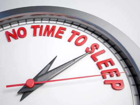 Clock with words no time to sleep on its face Stock Photo