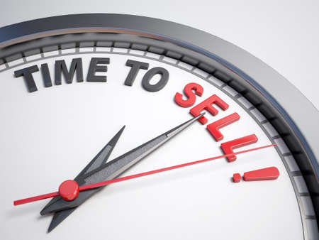 Horloge avec des mots de temps pour vendre Banque d'images